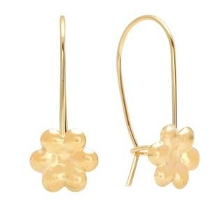 Pori Jewelers Charm Kidney Wire Drop flower Earrings in 14K Solid Gold