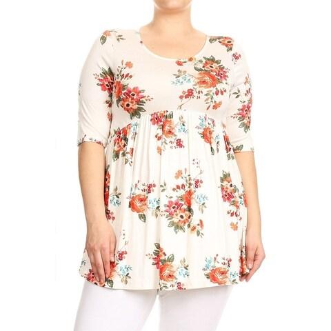 Women's Plus Size Floral Babydoll Tunic Top