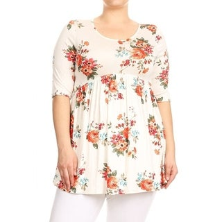 Women's Plus Size Floral Babydoll Tunic Top