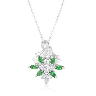 "Noray Designs 14K White Gold Gemstone & Diamond (0.25 Ct, G-H Color, SI2-I1 Clarity) Flower Pendant, 18"" Gold Chain"