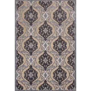 KAS Rugs Anna 8724 Sand/Grey Chenille and Viscose Medallia Rug - 7'10 x 11'2
