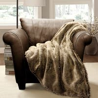 Lush Decor Faux Wolf Fur Throw