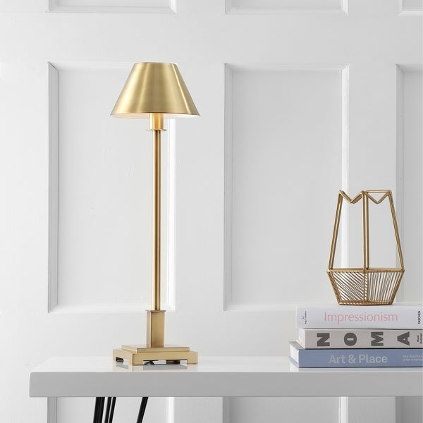 "Roxy 26"" Metal Shade LED Table Lamp, Brushed Brass"
