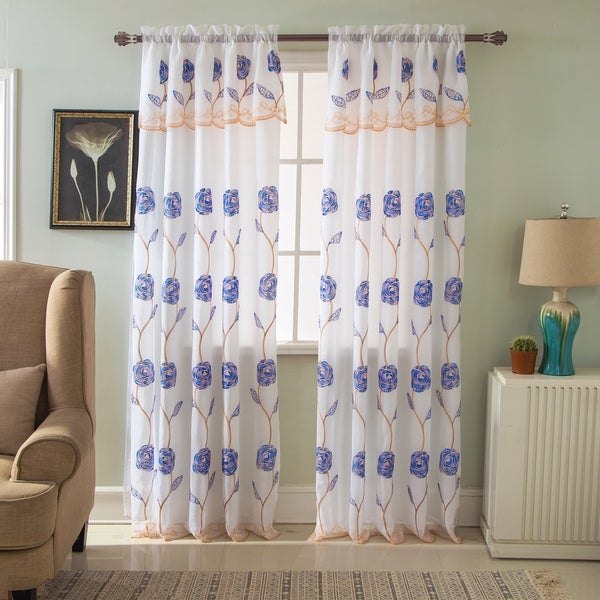 RT Designers Collection Crystal Floral Embroidered 84-inch Rod ...