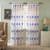 RT Designers Collection Crystal Floral Embroidered 84-inch Rod Pocket Single Curtain Panel - 54 x 84 in. + 18 in.