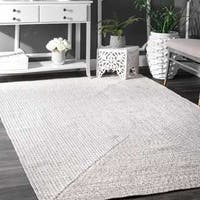 Oliver & James Rowan Handmade Ivory Braided Area Rug - 7'6 x 9'6 Oval