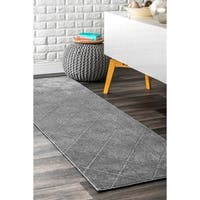 "Porch & Den Williamsburg Havemeyer Handmade Trellis Grey Runner Rug (2'3'' x 8') - 2'3"" x 8' Runner"