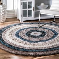 Havenside Home Siesta Handmade Striped Shag Blue Multi Round Rug - 8' Round