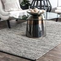 nuLOOM Handmade Flatweave Contemporary Solid Cotton Grey Area Rug (4' x 6') - 4' x 6'