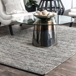 nuLOOM Handmade Flatweave Contemporary Solid Cotton Grey Area Rug (4' x 6') - 4' x 6'
