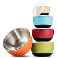 Multicolor Premium Grade Stainless Steel Mixing Bowl Set With Vacuum Seal lids Non-Skid Bottom Nesting Bowls for Easy Mixing