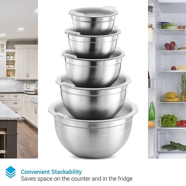Verious Sizes Airtight Lids Premium 5-Piece Stainless Steel Mixing Bowl Set