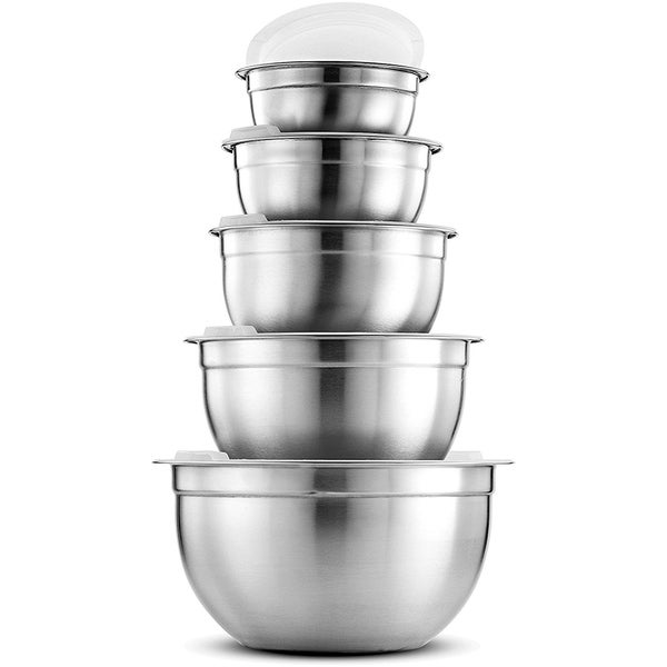 Stainless Steel Mixing Bowls (5 Piece) With Airtight Sealed Lids