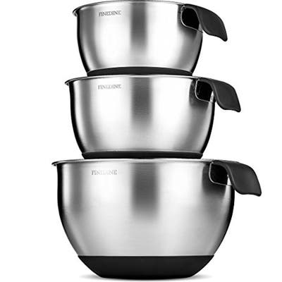 Stainless Steel Mixing Bowls With Handle and Measurement Marks - 3 pc.