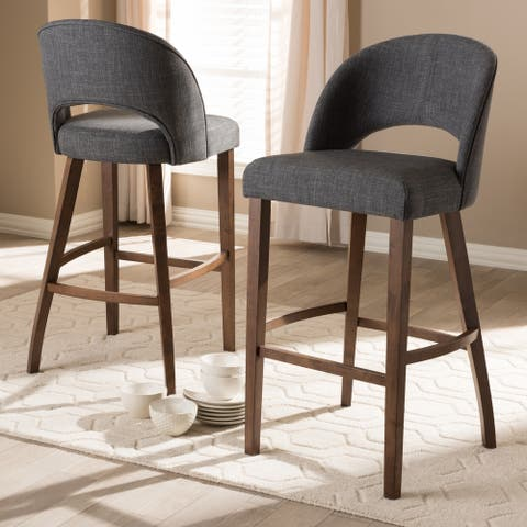Mid-Century Fabric Upholstered Bar Stool Set by Baxton Studio