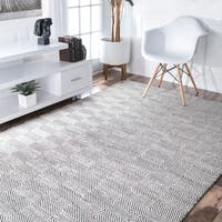 nuLOOM Handmade Flatweave Concentric Diamond Trellis Wool/ Cotton Ivory Area Rug (3' x 5') - 3' x 5'