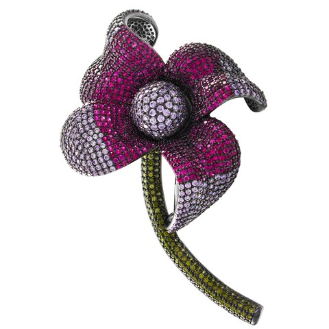 Luxiro Lab-created Ruby with Lavender and Olive Cubic Zirconia Flower Pin