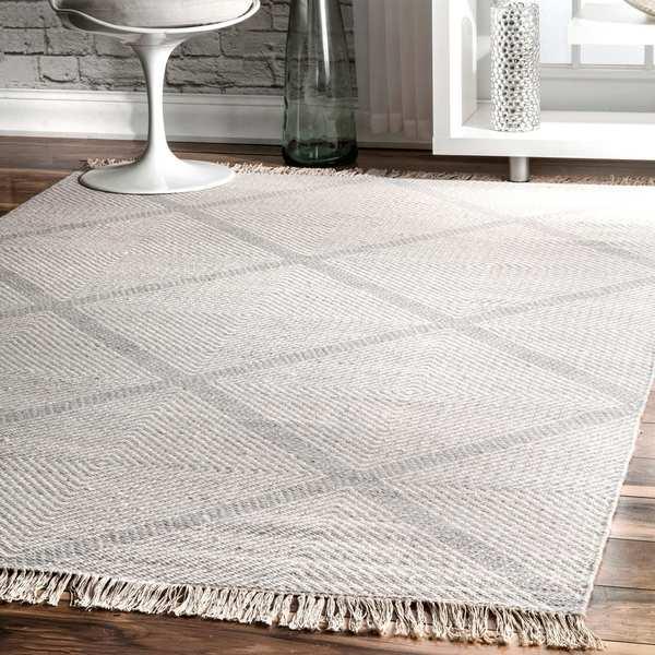 Nuloom Diamond Trellis Wool Ivory Handmade Flat Woven Area Rug 4 X27