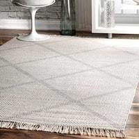 nuLOOM Diamond Trellis Wool Ivory Handmade Flat-Woven Area Rug (6' x 9') - 6' x 9'