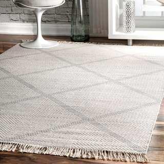 """nuLOOM Diamond Trellis Wool Ivory Handmade Flat-Woven Area Rug (8'6'' x 11'6'') - 8'6"""" x 11'6"""""""