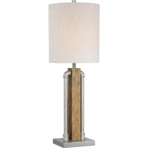 Quoizel Alliance Rusty Zinc with Old Wood Portable Table Lamp