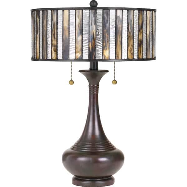 Shop Quoizel Roland Valiant Bronze Tiffany Table Lamp - Free