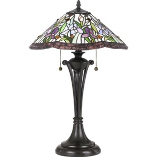 Quoizel White Valley Vintage Bronze Tiffany Table Lamp