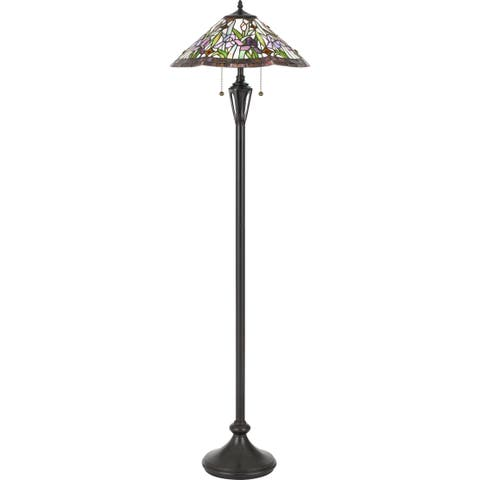 Quoizel White Valley Vintage Bronze Tiffany Floor Lamp