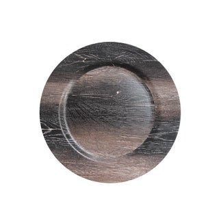 """walnut finish charger plate 13""""d"""