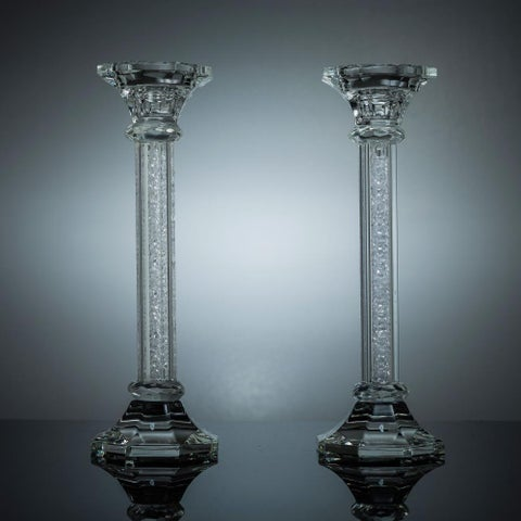Premium Crystal Candlestick (2-Piece Set), Radiant Gems Inside Stem, Style Octagon Base (Choose Small, Medium or Large)