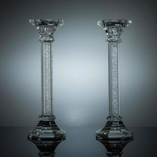 Premium Crystal Candlestick (2-Piece Set), Radiant Gems Inside Stem, Style Octagon Base (Choose Small, Medium or Large)