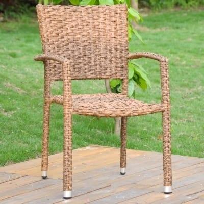 International Caravan Ibiza Aluminum Outdoor Wicker Dining Chair ( Set of 6)
