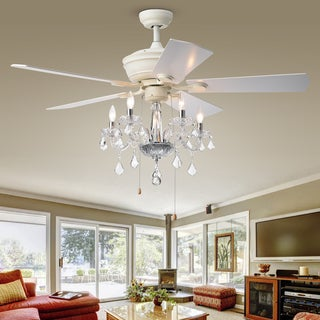 Havorand II 6-light Crystal 5-blade 52-inch White Finish Ceiling Fan
