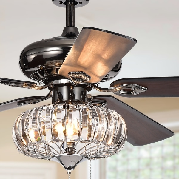 Chrysaor ii 1 light crystal 5 blade 52 inch pear black ceiling fan