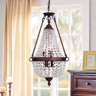Belle 6-Light Rustic Iron Crystal Pendant Lamp