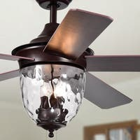 Josalie 3-light Clear Glass 5-blade Brown Finish 52-inch Ceiling Fan
