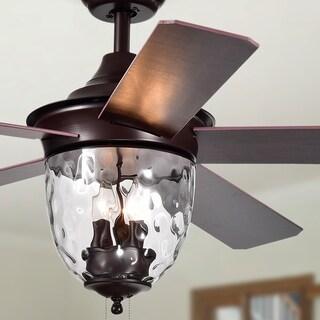 Josalie 3-light Clear Glass 5-blade Brown Finish 52-inch Ceiling Fan