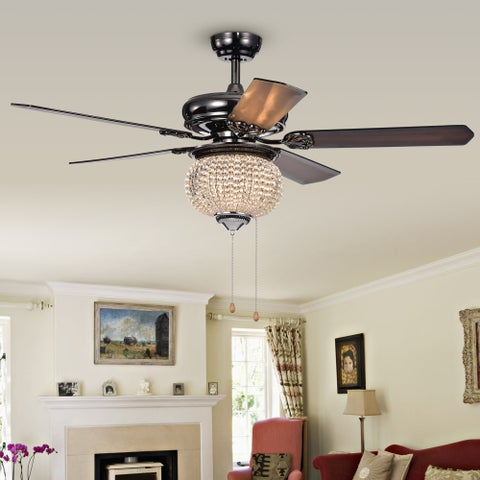 Priteen II 1-light Crystal 5-blade 52-inch Pear Black Ceiling Fan