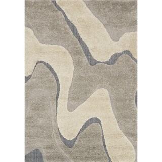 """Carson Carrington Heim Abstract Mid-century Grey/ Taupe Shag Area Rug - 2'3"""" x 3'9"""""""