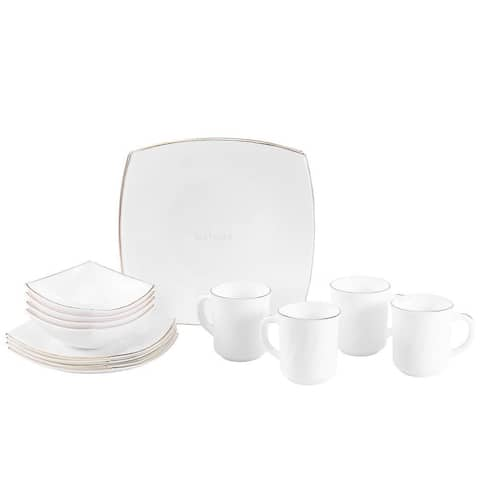 Matashi Platinum Collection Opal Glass 16-Piece Dinnerware Set (Choose from White or White with Gold Rim)