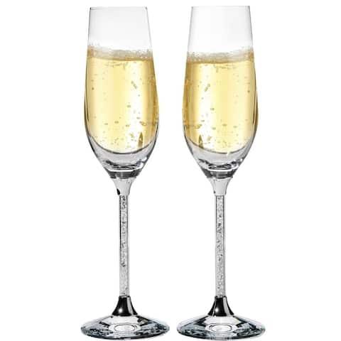 Matashi Crystal Champagne Flutes Glasses Set 8 oz