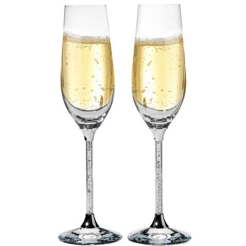 Matashi Crystal Champagne Flutes Glasses Set 8 oz