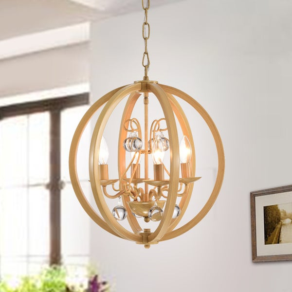 Elka 4-light Wood Painted Metal Pendant Lamp with Removable Crystals