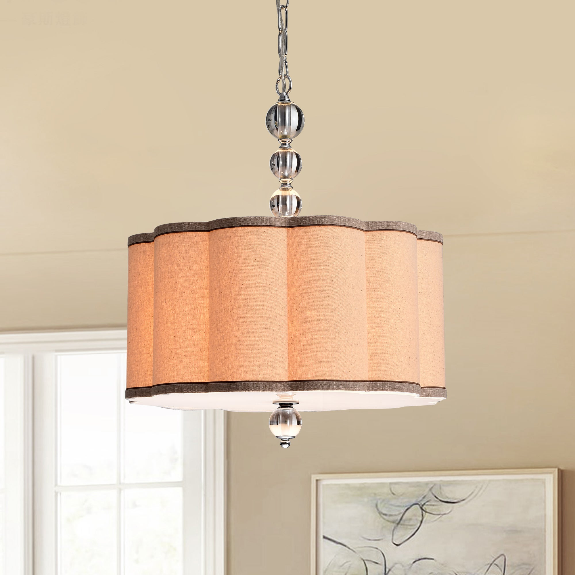 Shop Black Friday Deals On Desiree 4 Light Chrome Pendant Lamp With Textile Shade Overstock 20466055