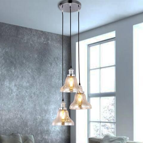 Joane 3-Light Foggy Glass Pendant Chandelier