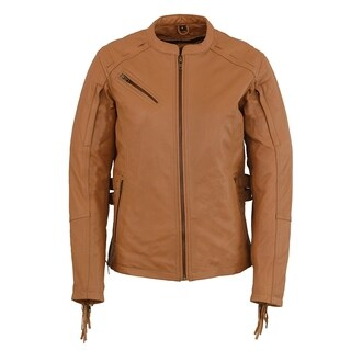 Ladies Saddle Tan Lightweight Scuba Racer Jacket w/ Fringe