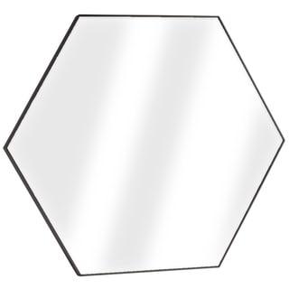American Art Decor Brown Hexagon Wall Vanity Infinity Mirror - Dark Brown - A/N