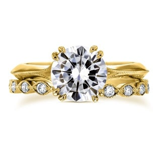 Annello By Kobelli 14k Gold 1 7 8 Carats TGW Moissanite 7 5mm And Diamond Bridal Set Subtle Floral Motif FG VS GH I