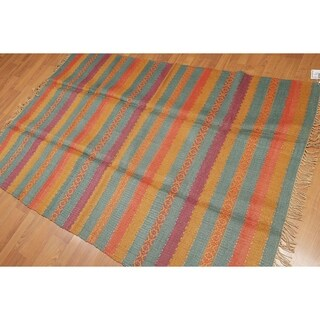 """Flatweave Boho Turkish Kilim Hand Woven Area Rug (4'8""""x7"""")"""