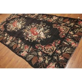 "Traditional Floral Turkish Kilim Area Rug - Charcoal/Brown - 5'9"" x 10'10"""